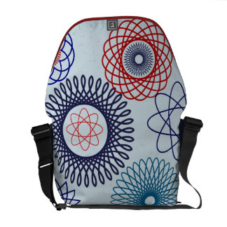 Funky Spirograph Geometric Pattern Blue Red Messenger Bags