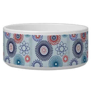 Funky Spirograph Geometric Pattern Blue Red Pet Food Bowl