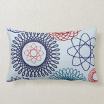 Funky Spirograph Geometric Pattern Blue Red Pillows