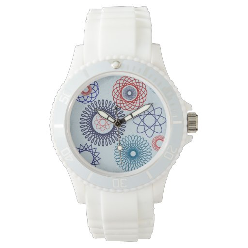 Funky Spirograph Geometric Pattern Blue Red Wristwatches