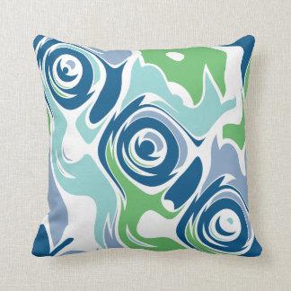 Funky Spring Blues Throw Pillow