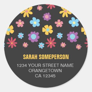 Funky Spring Flower Pattern Return Address Classic Round Sticker