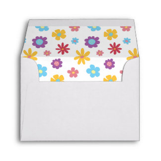 Funky Spring Flowers Pattern Note Card Envelopes