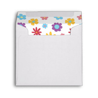 Funky Spring Flowers Pattern Square Envelopes