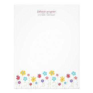 Funky Spring Flowers Personalizable Letterhead