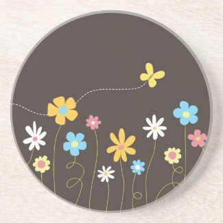 Funky Spring Flowers Sandstone Coaster