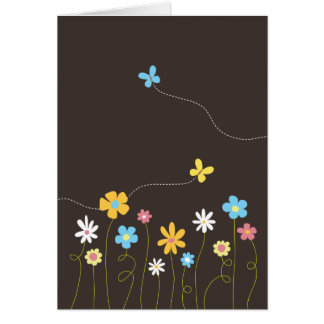 Funky Spring Flowers Thank You Note Card