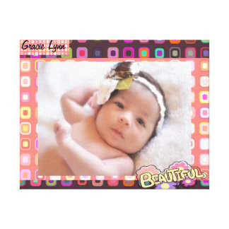 Funky Squares, Girl Photo Canvas Print
