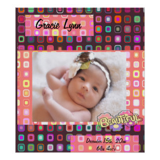 Funky Squares, Girl Photo Poster
