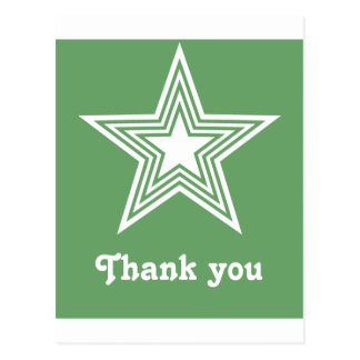 Funky Star Sweet 16 Flat Thank You Note Card Green Postcards