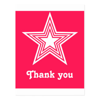 Funky Star Sweet 16 Flat Thank You Note Card Pink Postcard