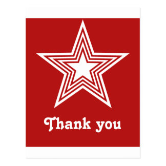 Funky Star Sweet 16 Flat Thank You Note Card Red Postcards