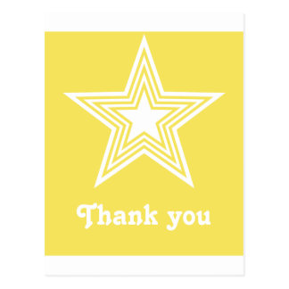 Funky Star Sweet 16 Flat Thank You Notecard Yellow Post Cards