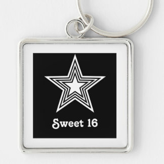 Funky Star Sweet 16 Keychain, Black and White Silver-Colored Square Keychain