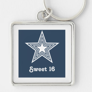 Funky Star Sweet 16 Keychain, Dark Blue Silver-Colored Square Keychain