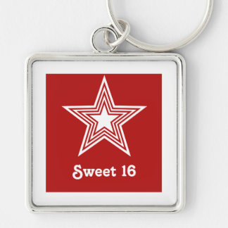 Funky Star Sweet 16 Keychain, Dark Red Silver-Colored Square Keychain