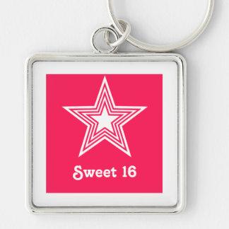 Funky Star Sweet 16 Keychain, Hot Pink Keychain