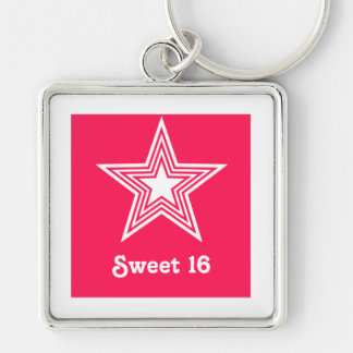 Funky Star Sweet 16 Keychain, Hot Pink Silver-Colored Square Keychain