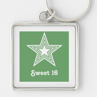Funky Star Sweet 16 Keychain, Kelly Green Silver-Colored Square Keychain