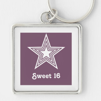 Funky Star Sweet 16 Keychain, Purple Silver-Colored Square Keychain