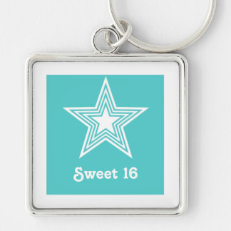 Funky Star Sweet 16 Keychain, Turquoise Silver-Colored Square Keychain