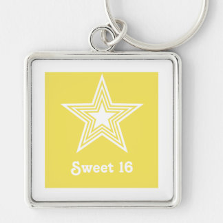 Funky Star Sweet 16 Keychain, Yellow Silver-Colored Square Keychain