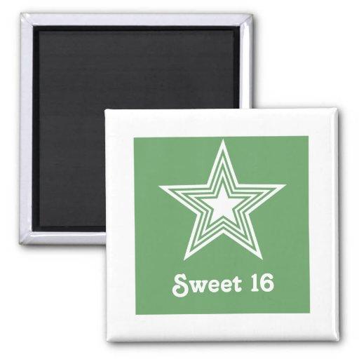 Funky Star Sweet 16 Magnet, Kelly Green
