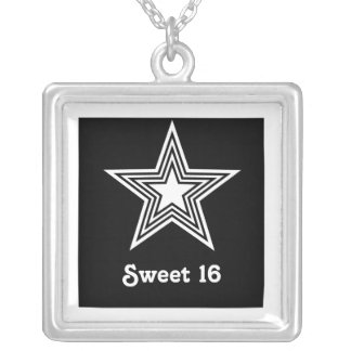 Funky Star Sweet 16 Necklace, Black and White Square Pendant Necklace