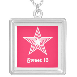 Funky Star Sweet 16 Necklace, Hot Pink Square Pendant Necklace