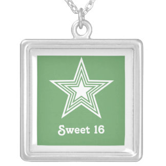 Funky Star Sweet 16 Necklace, Kelly Green Square Pendant Necklace