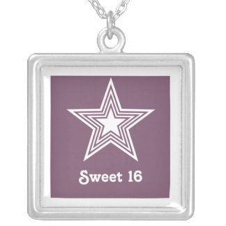 Funky Star Sweet 16 Necklace, Purple Square Pendant Necklace