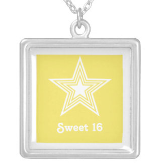 Funky Star Sweet 16 Necklace, Yellow Square Pendant Necklace