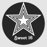 Funky Star Sweet 16 Stickers, Black and White