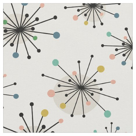 Funky Starburst Pattern Atomic Mid-century Modern Fabric