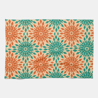 Funky Starburt Teal U0026amp; Orange Design Kitchen Towel