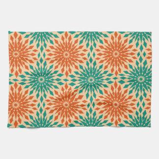 Funky Starburt Teal & Orange Design Kitchen Towels