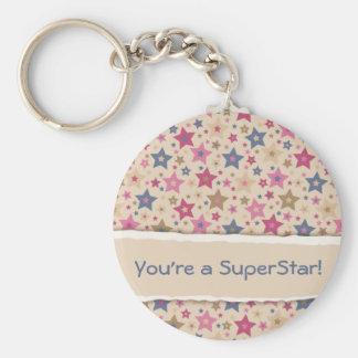Funky Stars Beige Rose Basic Round Button Keychain