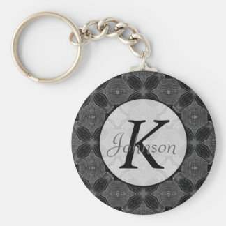 Funky Steampunk Metal Abstract Geometric Pattern Basic Round Button Keychain