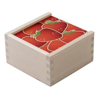 Funky strawberries wooden keepsake box
