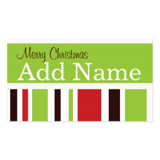 Funky Stripe Christmas Gift Tag Business Card