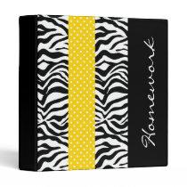 Funky Striped Lemon and Zebra 3 Ring Binder