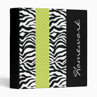 Funky Striped Lime and Zebra Vinyl Binders