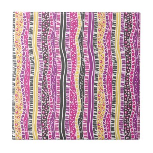 Funky Stripes Ceramic Tile Zazzle