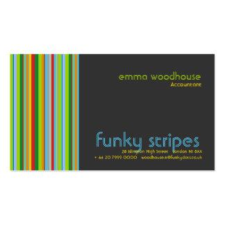 Funky Stripes Dark Grey Business Card Template