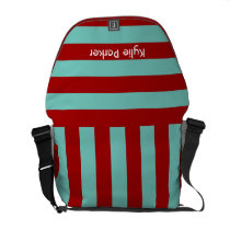 funky stripes red and aqua courier bag