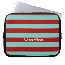 funky stripes red and aqua personalized laptop sleeve