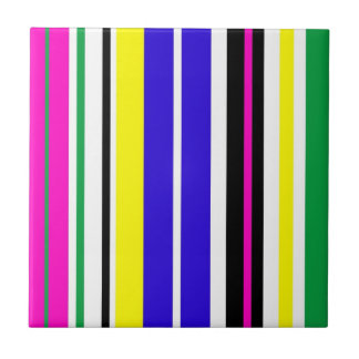Funky Stripes Small Square Tile