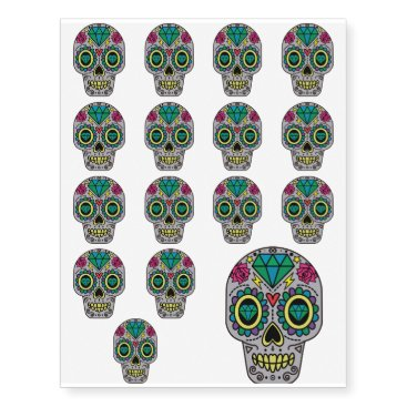 Funky Sugar Skull Design Boho Love Temporary Tattoos
