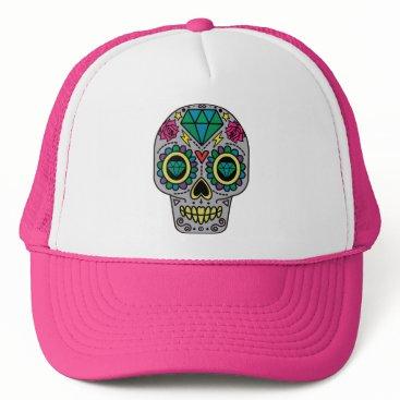 Halloween Themed Funky Sugar Skull Design Boho Love Trucker Hat