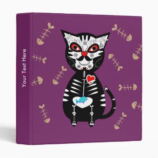Funky Sugar Skull Pussy Cat 3 Ring Binder